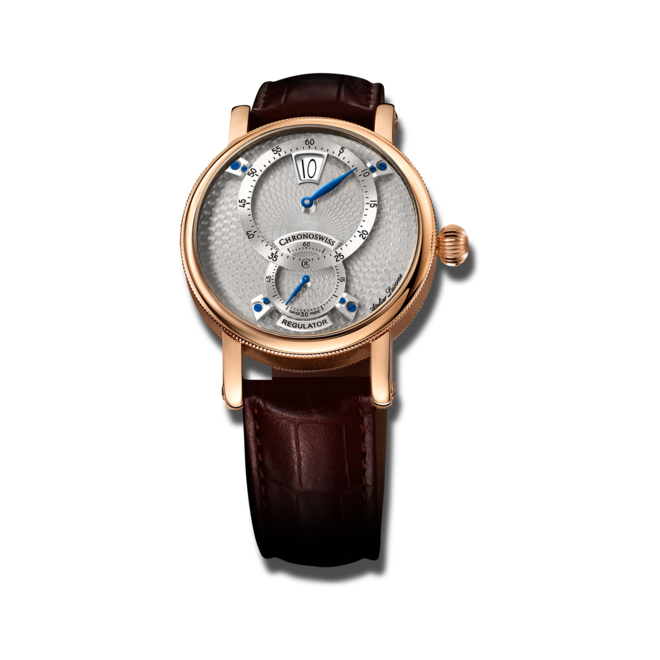 Armbanduhr Chronoswiss Flying Regulator Jumping Hour mit silberfarbenem Zifferblatt und Alligatorenleder-Armband bei Brogle
