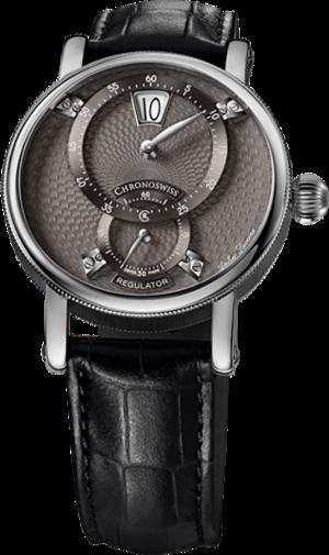 Armbanduhr Chronoswiss Flying Regulator Jumping Hour mit grauem Zifferblatt und Alligatorenleder-Armband