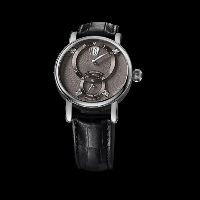 Armbanduhr Chronoswiss Flying Regulator Jumping Hour mit grauem Zifferblatt und Alligatorenleder-Armband bei Brogle