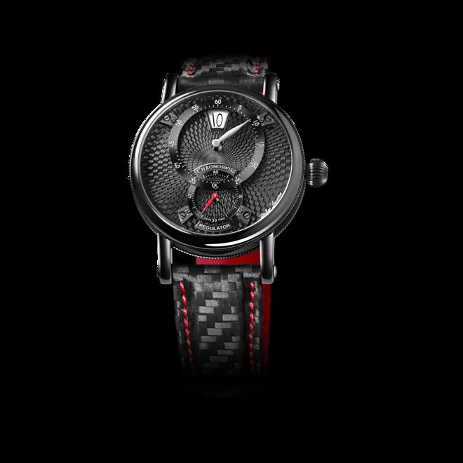 Armbanduhr Chronoswiss Flying Regulator Jumping Hour mit schwarzem Zifferblatt und Armband aus Kalbsleder mit Textil bei Brogle