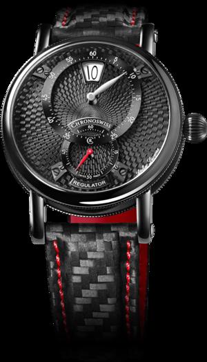 Armbanduhr Chronoswiss Flying Regulator Jumping Hour mit schwarzem Zifferblatt und Armband aus Kalbsleder mit Textil