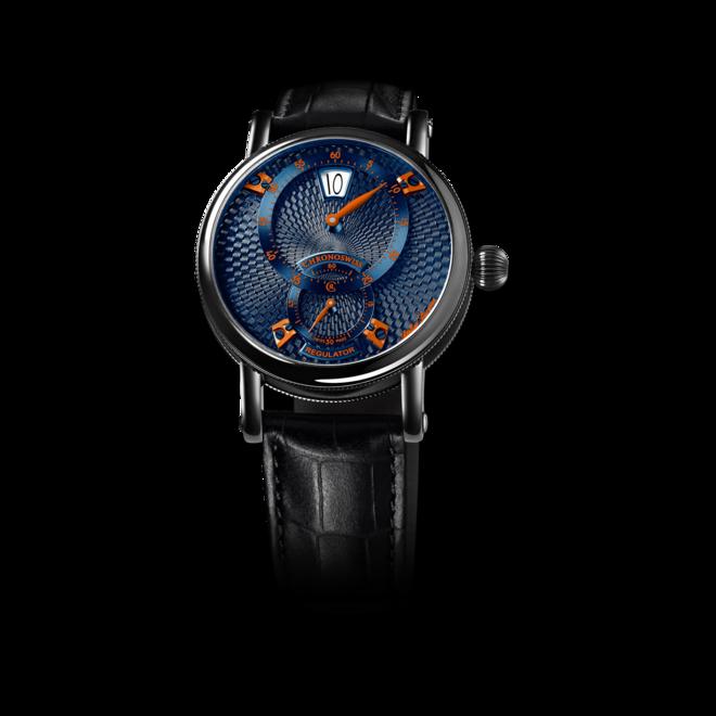 Armbanduhr Chronoswiss Flying Regulator Jumping Hour mit blauem Zifferblatt und Alligatorenleder-Armband bei Brogle