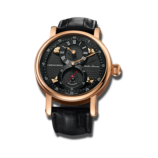Armbanduhr Chronoswiss Flying Regulator Manufacture mit anthrazitfarbenem Zifferblatt und Alligatorenleder-Armband bei Brogle