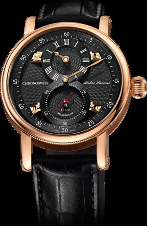 Armbanduhr Chronoswiss Flying Regulator Manufacture mit anthrazitfarbenem Zifferblatt und Alligatorenleder-Armband