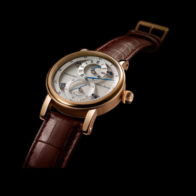 Armbanduhr Chronoswiss Flying Regulator Manufacture mit silberfarbenem Zifferblatt und Alligatorenleder-Armband bei Brogle