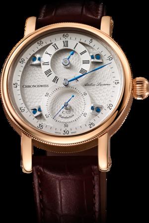 Armbanduhr Chronoswiss Flying Regulator Manufacture mit silberfarbenem Zifferblatt und Alligatorenleder-Armband