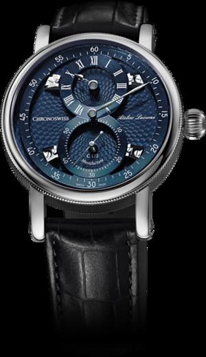 Armbanduhr Chronoswiss Flying Regulator Manufacture mit blauem Zifferblatt und Alligatorenleder-Armband