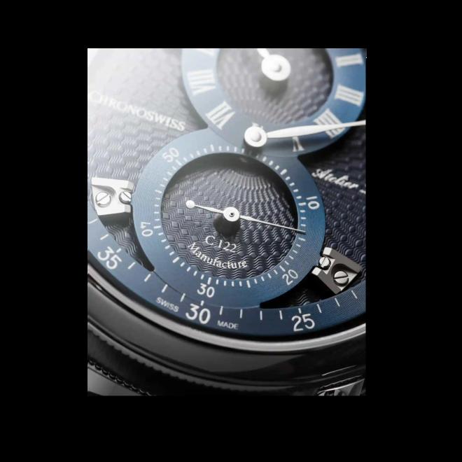 Armbanduhr Chronoswiss Flying Regulator Manufacture mit blauem Zifferblatt und Alligatorenleder-Armband bei Brogle