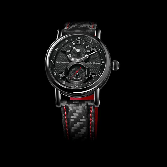 Armbanduhr Chronoswiss Flying Regulator Manufacture mit schwarzem Zifferblatt und Armband aus Kalbsleder mit Textil bei Brogle