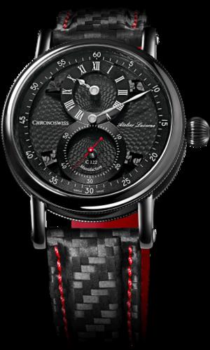 Armbanduhr Chronoswiss Flying Regulator Manufacture mit schwarzem Zifferblatt und Armband aus Kalbsleder mit Textil