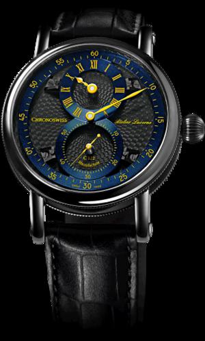 Armbanduhr Chronoswiss Flying Regulator Manufacture mit zweifarbigem Zifferblatt und Alligatorenleder-Armband