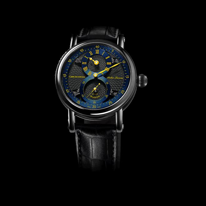 Armbanduhr Chronoswiss Flying Regulator Manufacture mit zweifarbigem Zifferblatt und Alligatorenleder-Armband bei Brogle