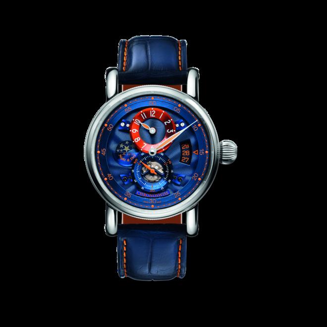 Armbanduhr Chronoswiss Flying Regulator Night and Day Limited Edition mit blauem Zifferblatt und Alligatorenleder-Armband bei Brogle