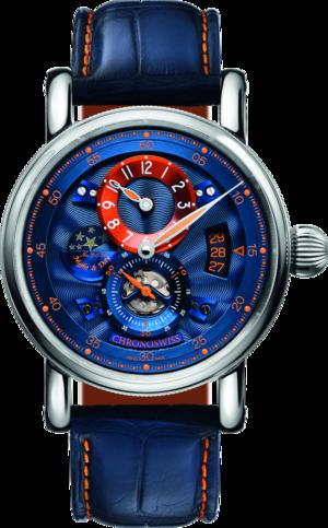 Armbanduhr Chronoswiss Flying Regulator Night and Day Limited Edition mit blauem Zifferblatt und Alligatorenleder-Armband