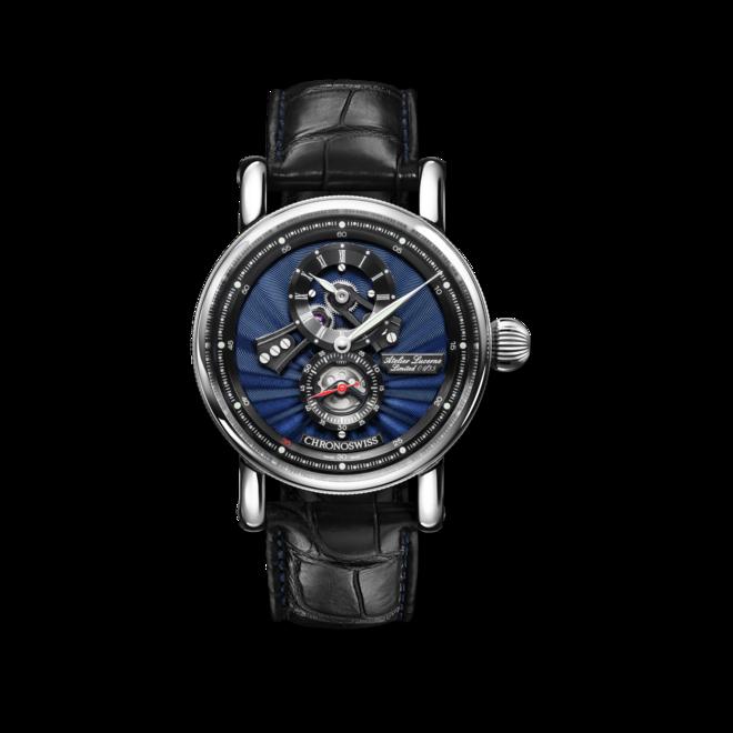 Armbanduhr Chronoswiss Flying Regulator Open Gear Anniversary Edition mit zweifarbigem Zifferblatt und Alligatorenleder-Armband bei Brogle