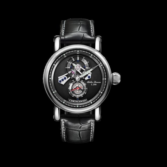 Armbanduhr Chronoswiss Flying Regulator Open Gear mit schwarzem Zifferblatt und Alligatorenleder-Armband bei Brogle