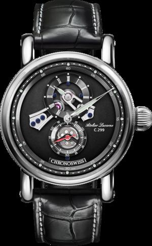 Armbanduhr Chronoswiss Flying Regulator Open Gear mit schwarzem Zifferblatt und Alligatorenleder-Armband