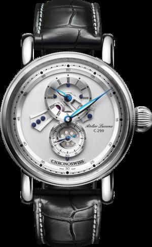 Herrenuhr Chronoswiss Flying Regulator Open Gear mit silberfarbenem Zifferblatt und Alligatorenleder-Armband