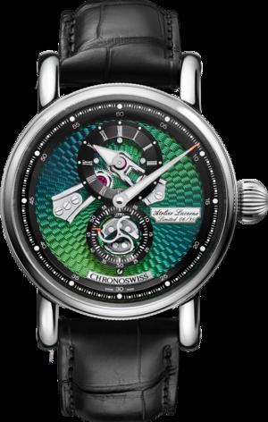 Armbanduhr Chronoswiss Flying Regulator Open Gear Limited Edition mit grünem Zifferblatt und Alligatorenleder-Armband