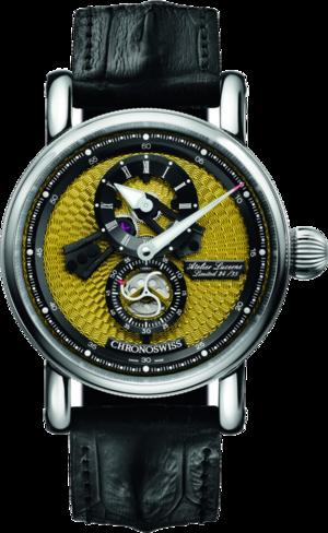 Armbanduhr Chronoswiss Flying Regulator Open Gear Limited Edition mit gelbem Zifferblatt und Alligatorenleder-Armband