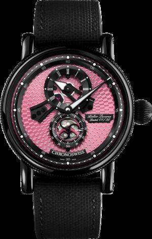 Armbanduhr Chronoswiss Flying Regulator Open Gear Pink Panther mit pinkem Zifferblatt und Kautschukarmband