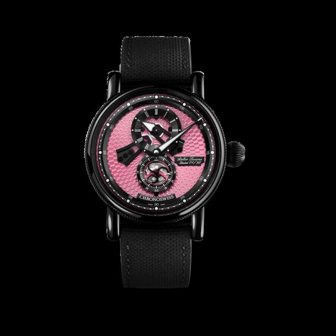 Armbanduhr Chronoswiss Flying Regulator Open Gear Pink Panther mit pinkem Zifferblatt und Kautschukarmband bei Brogle