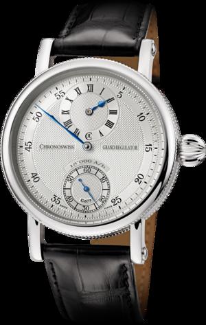 Armbanduhr Chronoswiss Grand Regulator mit silberfarbenem Zifferblatt und Alligatorenleder-Armband