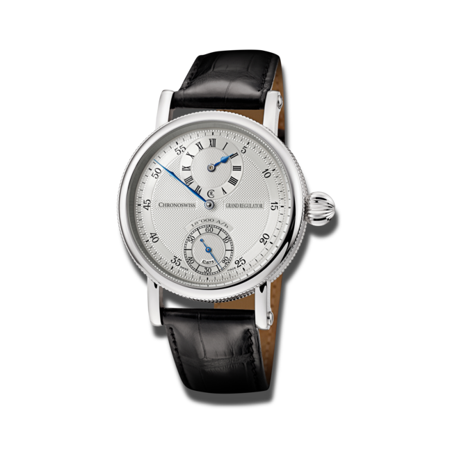 Armbanduhr Chronoswiss Grand Regulator mit silberfarbenem Zifferblatt und Alligatorenleder-Armband bei Brogle