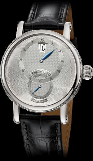 Armbanduhr Chronoswiss Regulator Jumping Hour mit silberfarbenem Zifferblatt und Alligatorenleder-Armband
