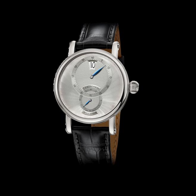 Armbanduhr Chronoswiss Regulator Jumping Hour mit silberfarbenem Zifferblatt und Alligatorenleder-Armband bei Brogle