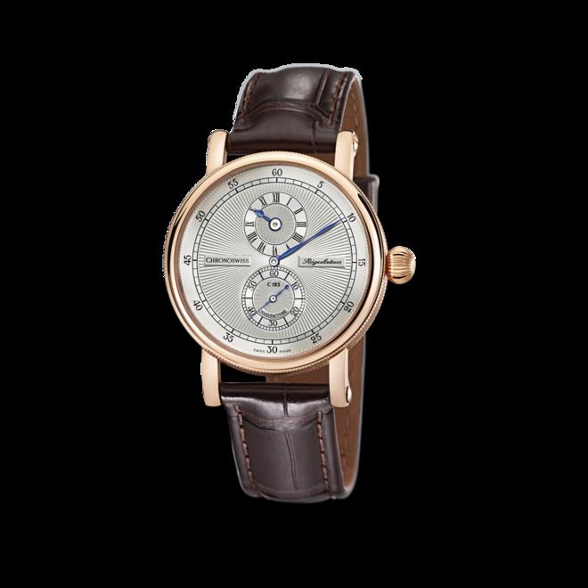 Armbanduhr Chronoswiss Regulator Manufacture mit silberfarbenem Zifferblatt und Alligatorenleder-Armband bei Brogle