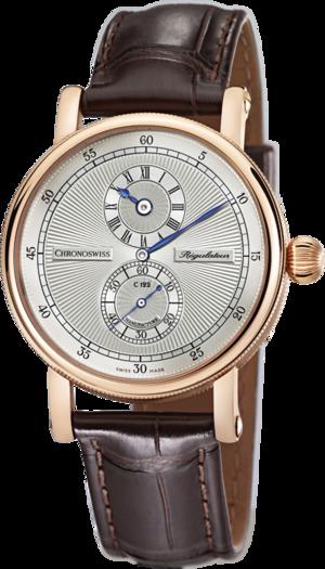 Armbanduhr Chronoswiss Regulator Manufacture mit silberfarbenem Zifferblatt und Alligatorenleder-Armband