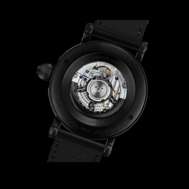 Herrenuhr Chronoswiss Open Gear Resec Black Ice mit schwarzem Zifferblatt und Armband aus Kalbsleder mit Textil bei Brogle