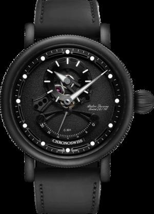 Herrenuhr Chronoswiss Open Gear Resec Black Ice mit schwarzem Zifferblatt und Armband aus Kalbsleder mit Textil