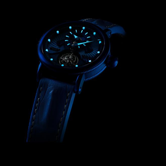 Herrenuhr Chronoswiss Open Gear Tourbillon 44mm mit blauem Zifferblatt und Krokodilleder-Armband bei Brogle