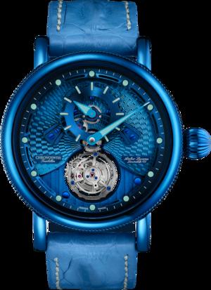 Herrenuhr Chronoswiss Open Gear Tourbillon 44mm mit blauem Zifferblatt und Krokodilleder-Armband