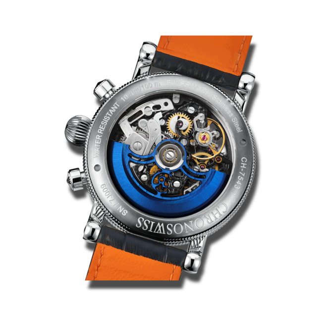Herrenuhr Chronoswiss Opus Chronograph 41mm mit zweifarbigem Zifferblatt und Alligatorenleder-Armband bei Brogle