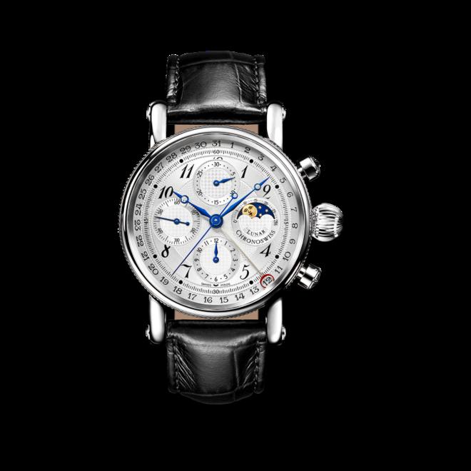 Armbanduhr Chronoswiss Sirius Lunar Chronograph 41mm mit silberfarbenem Zifferblatt und Alligatorenleder-Armband bei Brogle