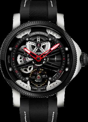 Herrenuhr Chronoswiss Skeltec 45mm mit schwarzem Zifferblatt und Rindsleder-Armband