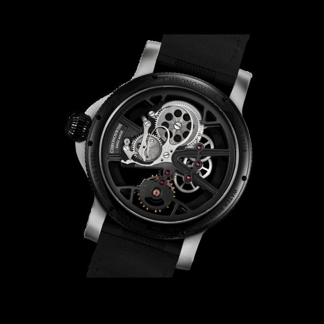 Herrenuhr Chronoswiss Skeltec 45mm mit schwarzem Zifferblatt und Rindsleder-Armband bei Brogle