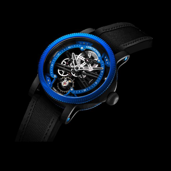 Herrenuhr Chronoswiss Skeltec Azur 45mm mit blauem Zifferblatt und Rindsleder-Armband bei Brogle