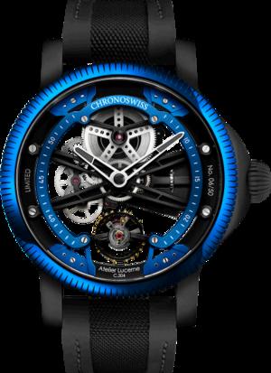 Herrenuhr Chronoswiss Skeltec Azur 45mm mit blauem Zifferblatt und Rindsleder-Armband