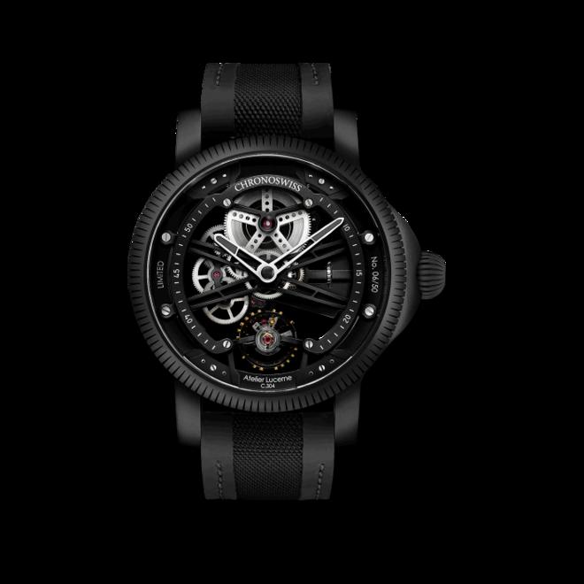 Herrenuhr Chronoswiss Skeltec Pitch Black 45mm mit schwarzem Zifferblatt und Rindsleder-Armband bei Brogle