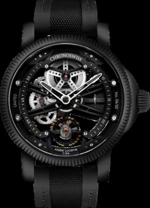 Herrenuhr Chronoswiss Skeltec Pitch Black 45mm mit schwarzem Zifferblatt und Rindsleder-Armband