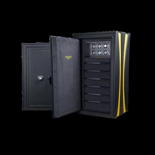 Uhrenbeweger Chronovision Tresor Guardian Osiris 8 - H3 aus Holz/MDF, Edelstahl und Lederfaserstoff bei Brogle