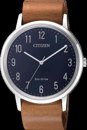 Herrenuhr Citizen Basic mit blauem Zifferblatt und Kalbsleder-Armband