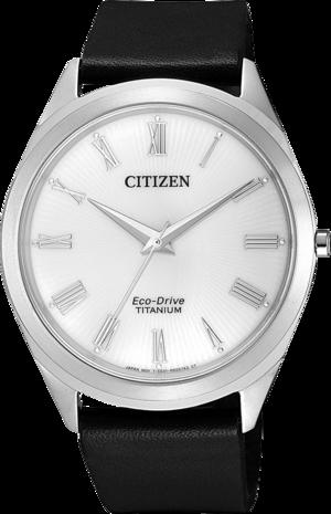 Herrenuhr Citizen Basic mit weißem Zifferblatt und Kalbsleder-Armband