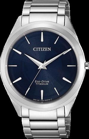 Herrenuhr Citizen Basic mit blauem Zifferblatt und Titanarmband