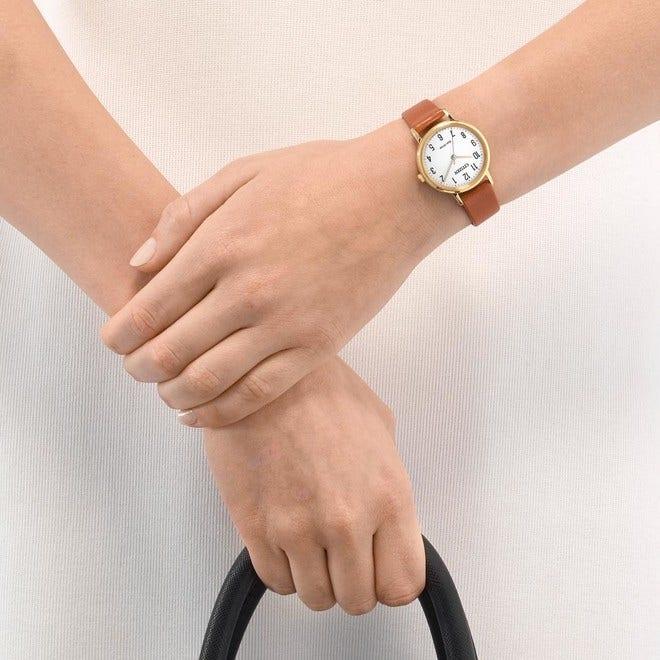 Damenuhr Citizen Basic mit weißem Zifferblatt und Kalbsleder-Armband bei Brogle