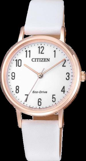 Damenuhr Citizen Basic mit weißem Zifferblatt und Kalbsleder-Armband